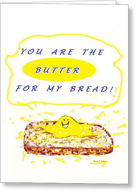 Greeting Card featuring the drawing Butter For My Bread by Denise Fulmer