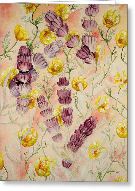 Buttercups And Lavendar Greeting Card