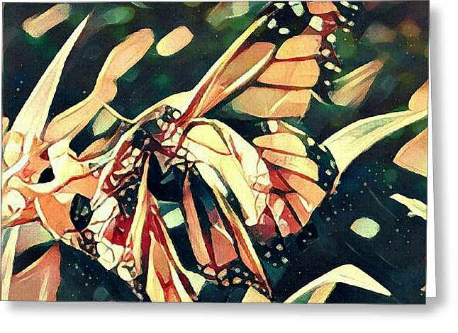 Greeting Card featuring the digital art Butterfies In Love Abstract by David Mckinney
