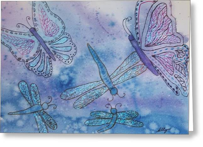 Greeting Card featuring the painting Butterflies And Dragonflies by Ellen Levinson