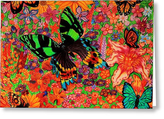 Butterflies And Flowers Greeting Card by Nick Gustafson