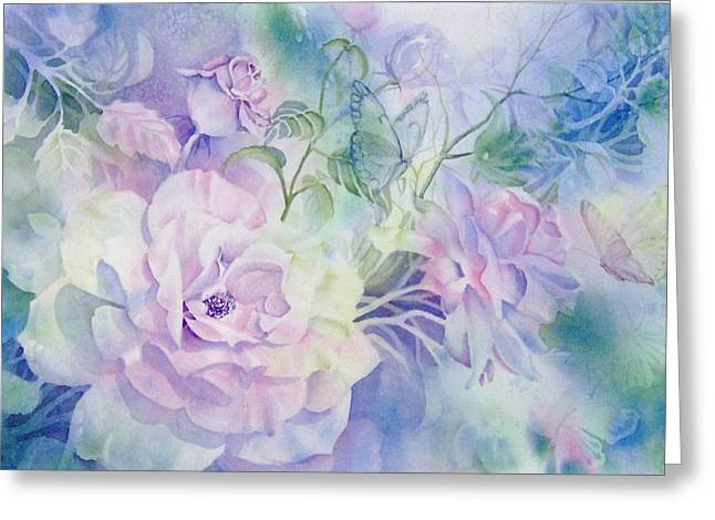Butterflies-and-roses Greeting Card by Nancy Newman