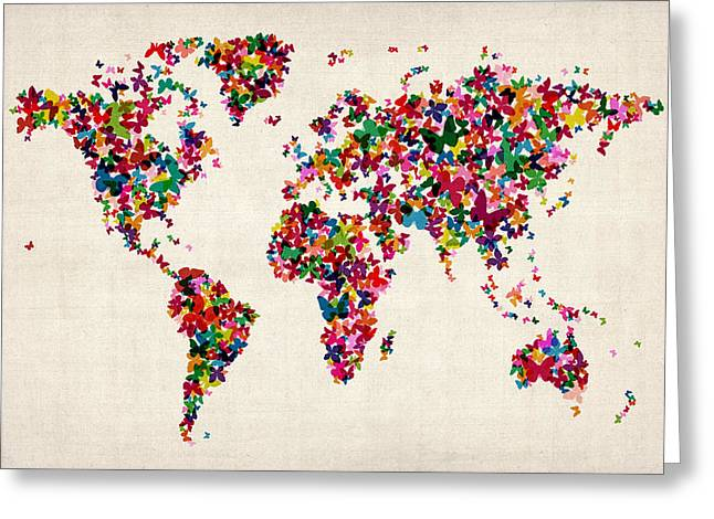World Map Greeting Cards - Butterflies Map of the World Greeting Card by Michael Tompsett