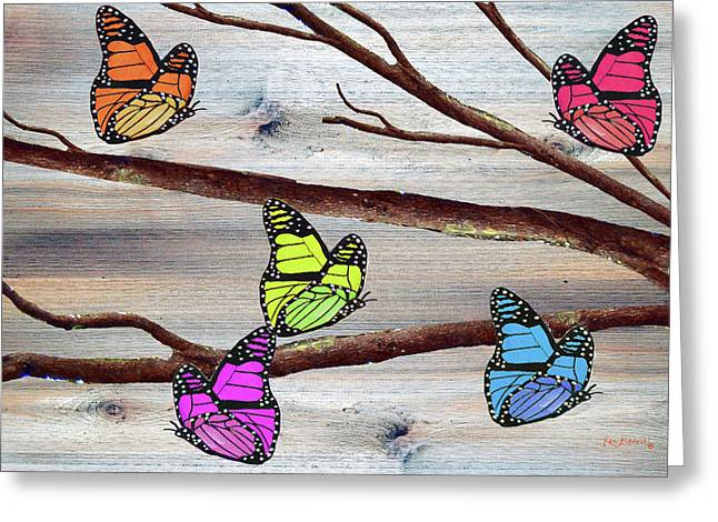Butterflies On Rustic Background Greeting Card