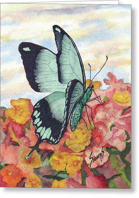 Greeting Card featuring the painting Butterfly 180727 by Sam Sidders