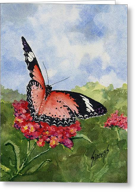 Greeting Card featuring the painting Butterfly - 180709 by Sam Sidders