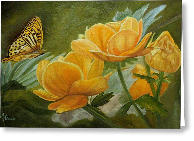 Greeting Card featuring the painting Butterfly Among Yellow Flowers by Angeles M Pomata