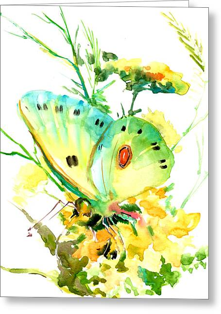 Butterfly And Flowers Greeting Card by Suren Nersisyan