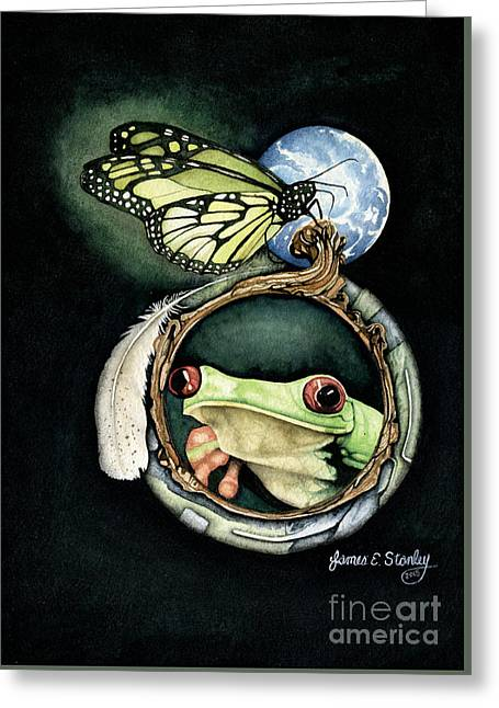 Butterfly And Frog Greeting Card by James Stanley