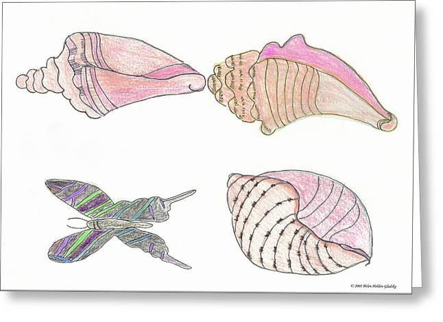 Butterfly And Sea Shells Greeting Card