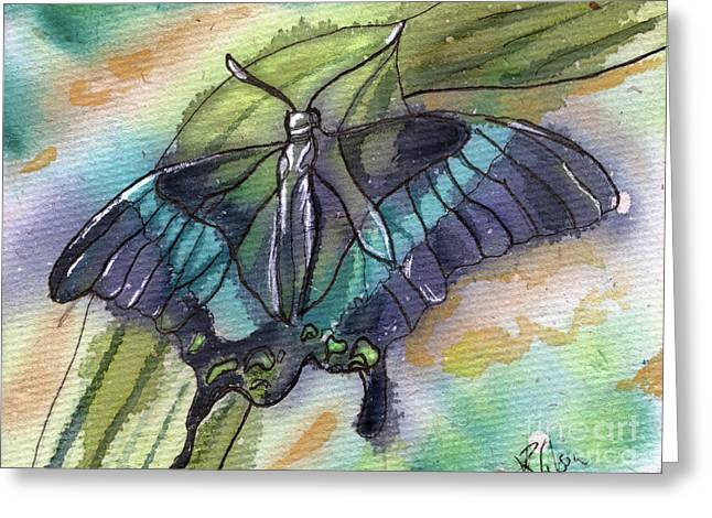 Butterfly Bamboo Black Swallowtail Greeting Card by D Renee Wilson
