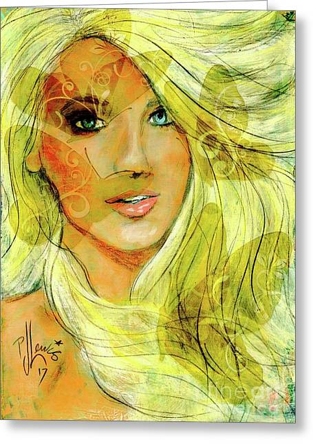 Greeting Card featuring the painting Butterfly Blonde by P J Lewis
