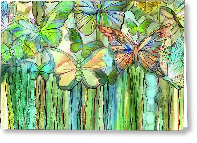 Butterfly Bloomies 3 - Rainbow Greeting Card by Carol Cavalaris