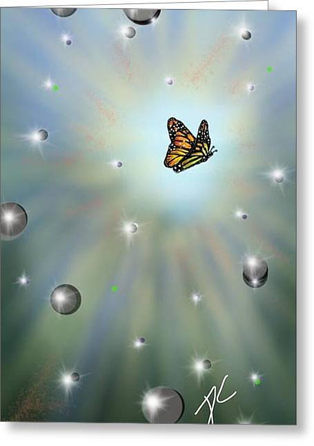Greeting Card featuring the digital art Butterfly Bubbles by Darren Cannell