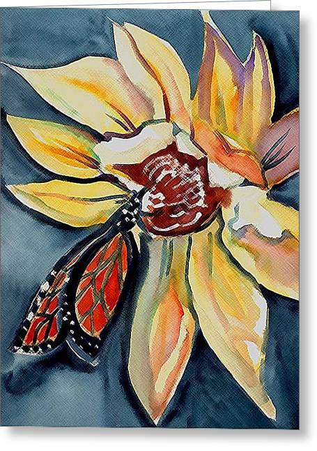 Butterfly -cross Hatch Greeting Card by Janet Doggett