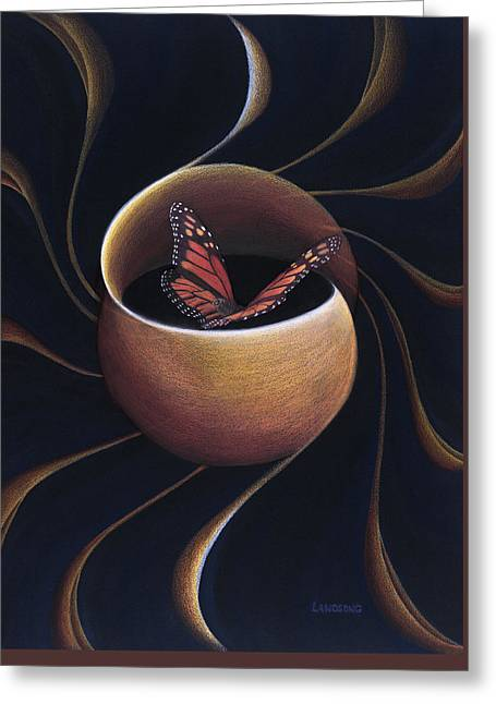 Butterfly Crossing Through The Portal Greeting Card by Robin Aisha Landsong