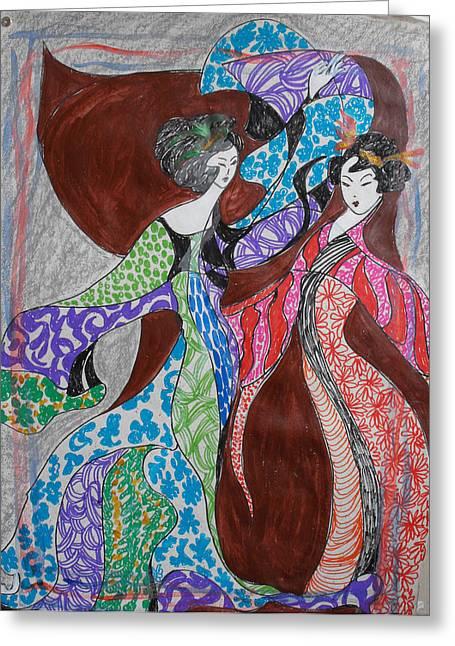 Butterfly Dance Greeting Card by Helene  Champaloux-Saraswati