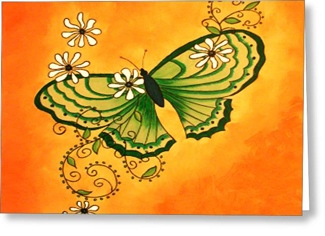 Butterfly Doodle Greeting Card by Karen R Scoville