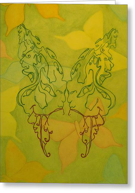 Butterfly Face Greeting Card by Megan Howard