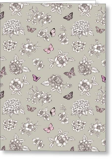 Butterfly Floral Repeat Greeting Card by Stephanie Davies