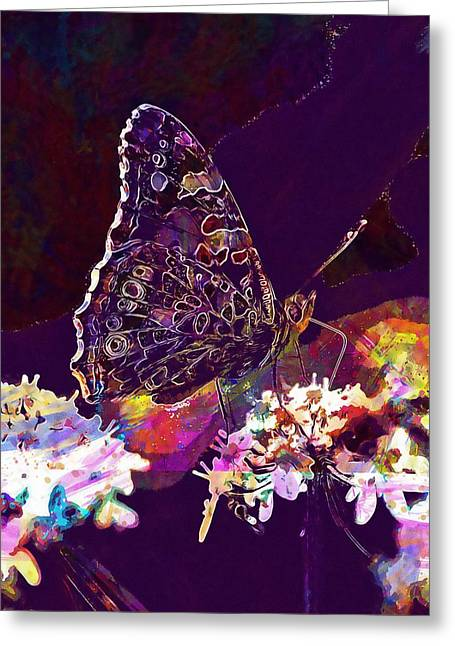 Greeting Card featuring the digital art Butterfly Flower Summer Forage  by PixBreak Art