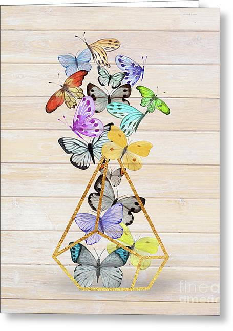 Butterfly Gold Wire Terrarium Against Whitewashed Wood Greeting Card by Tina Lavoie