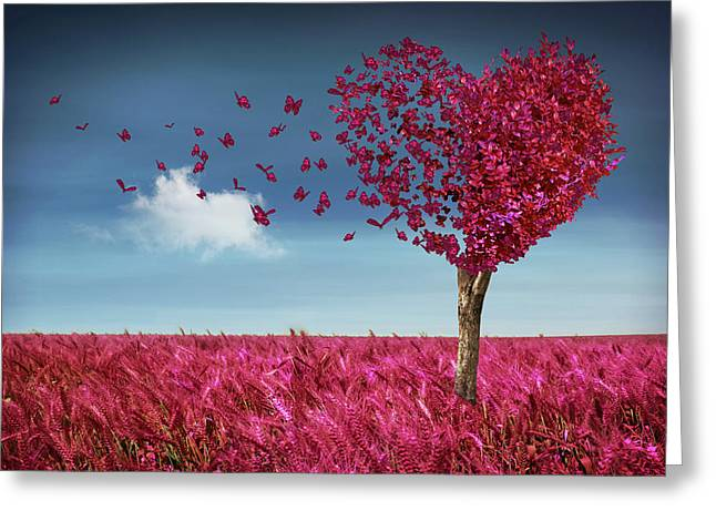 Butterfly Heart Tree Greeting Card