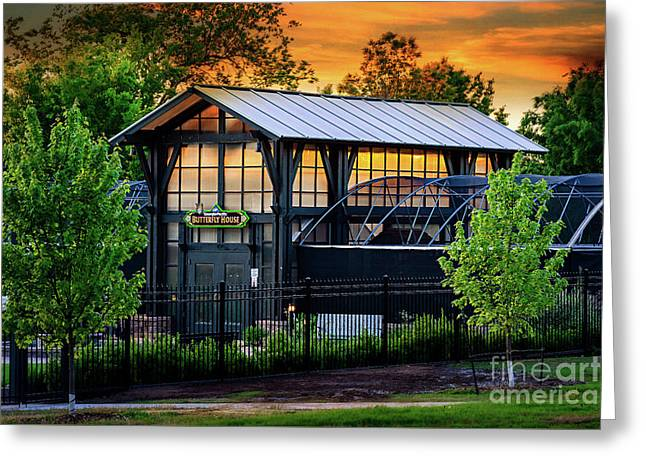 Butterfly House At Sunset Greeting Card