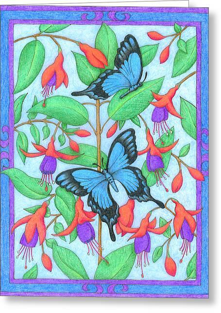 Butterfly Idyll-fuchsias Greeting Card