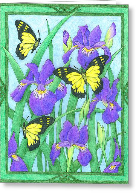 Butterfly Idyll-irises Greeting Card
