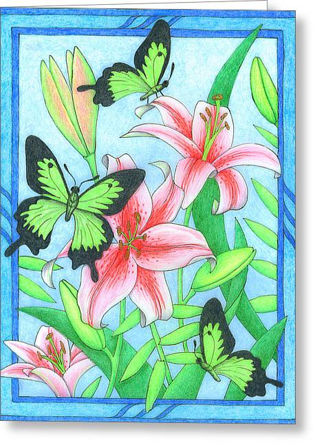 Butterfly Idyll- Lilies Greeting Card
