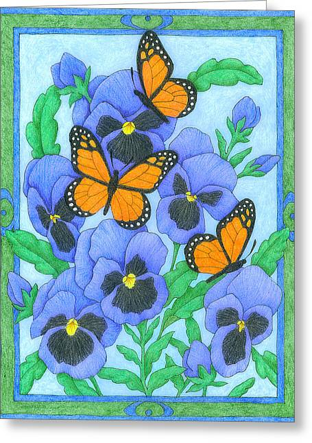 Butterfly Idyll-pansies Greeting Card