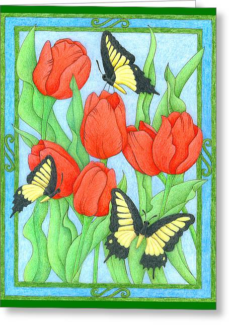 Butterfly Idyll-tulips Greeting Card