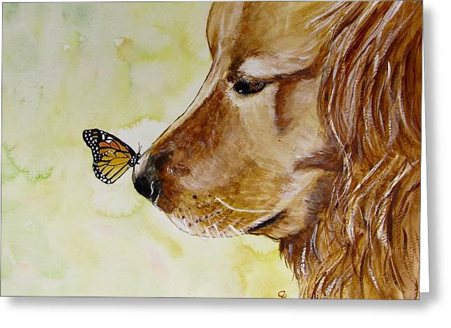 Butterfly Kisses Greeting Card by Carol Blackhurst