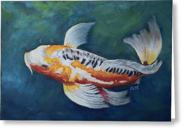 Greeting Card featuring the painting Butterfly Koi I by Sandra Nardone