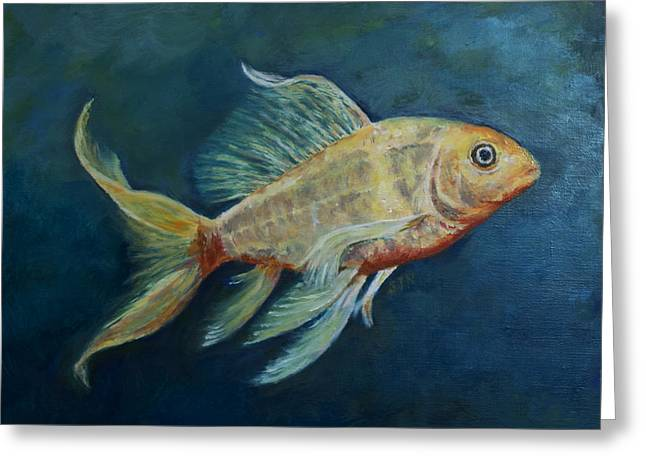 Greeting Card featuring the painting Butterfly Koi II by Sandra Nardone