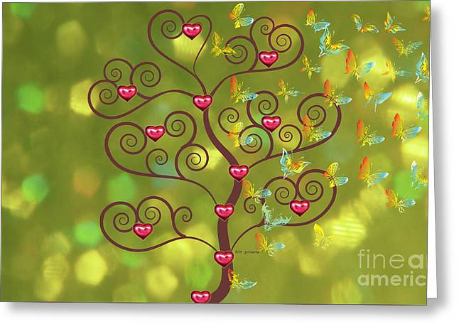 Butterfly Of Heart Tree Greeting Card