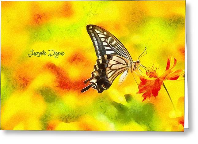 Butterfly On Flower Greeting Card by Leonardo Digenio