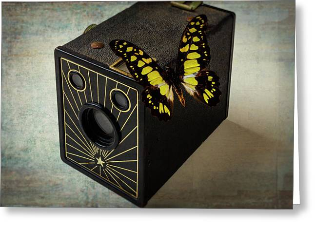 Butterfly On Old Camera Greeting Card