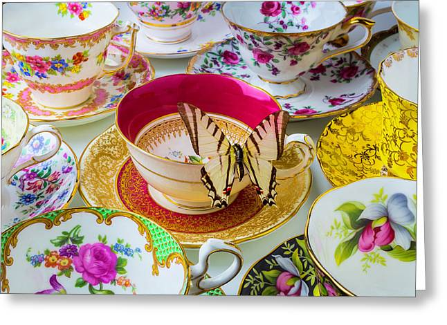 Butterfly On Red Tea Cup Greeting Card by Garry Gay