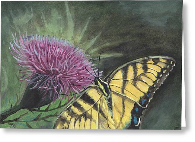 Butterfly On Thistle 2010 Greeting Card by Cheryl Johnson