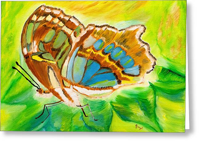 Malachite Butterfly Delight Greeting Card by Meryl Goudey