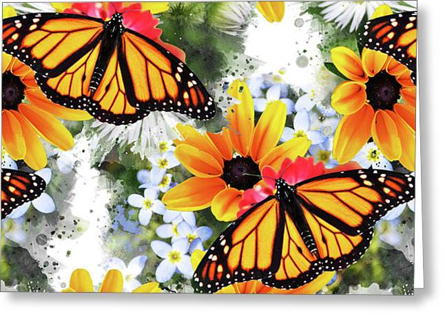 Greeting Card featuring the mixed media Butterfly Pattern by Christina Rollo