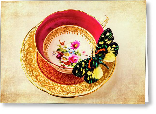 Butterfly Resting On Tea Cup Greeting Card by Garry Gay