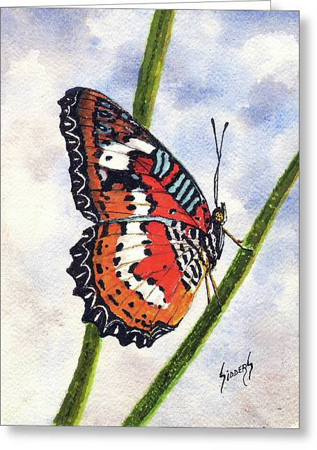 Greeting Card featuring the painting Butterfly - 171012 by Sam Sidders