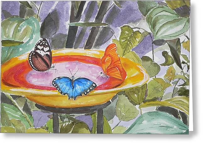 Greeting Card featuring the painting Butterfly Sanctuary At Niagara Falls by Geeta Biswas