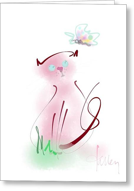 Greeting Card featuring the mixed media Butterfly Surprise by Larry Talley