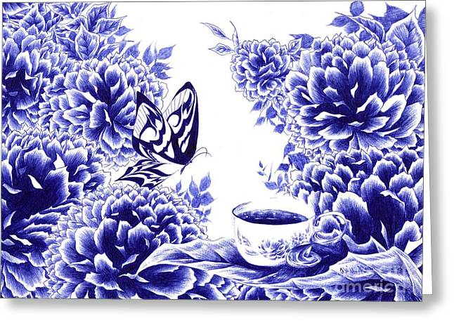 Butterfly Teatime Greeting Card