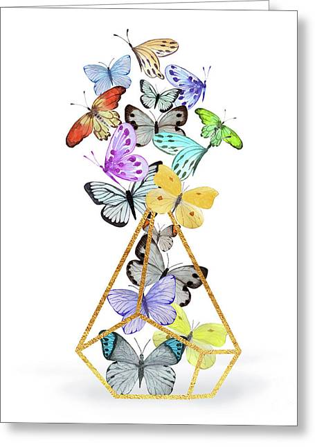 Butterfly Terrarium, Butterflies And A Gold Wire Terrarium Greeting Card by Tina Lavoie