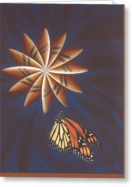 Butterfly Touching The Closed Portal Greeting Card by Robin Aisha Landsong
